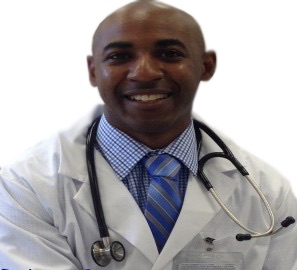 Jason Spears white coat and stethoscope