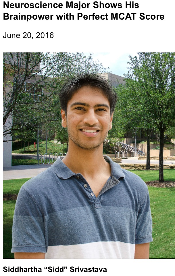 Neuroscientist earns a perfect MCAT score.