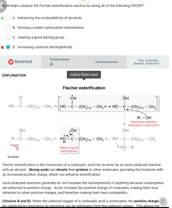 UWorld MCAT organic chemistry answer explanation for fischer reaction