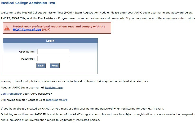 MCAT Registration login webpage