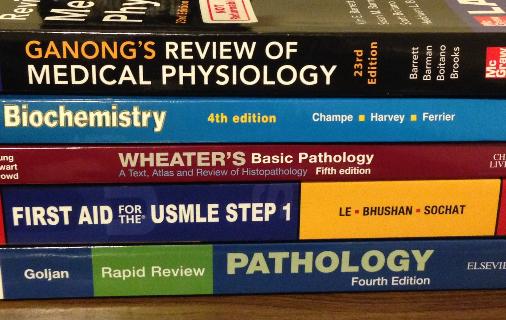 A collection of medical books from a medical student